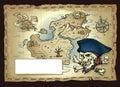 Wietrzejąca skarb mapa skull island z obcojęzyczną pirat czaszką kościami i Zdjęcia Stock