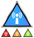 Wifi antennae signal icon free spot area cafe sign blue red orange green Royalty Free Stock Photos