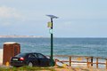 Wifi on the beach a transmitter serving a quiet across bay from alicante in spain Stock Photography