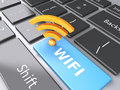 Wifi button on computer keyboard. 3d illustration Royalty Free Stock Photo
