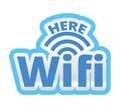 WiFi Here Logo Symbol Sticker Illustration