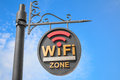 Wifi hotspot sign pole in zone Royalty Free Stock Photography