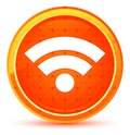 Wifi icon natural orange round button