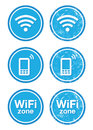Wifi internet zone blue vintage labels set Royalty Free Stock Image
