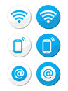 Wifi network, internet zone blue labels set -  Stock Photos