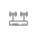Wifi router, wireless dsl modem line icon, outline vector sign, Royalty Free Stock Photo