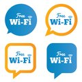 Wifi speech bubbles free wifi symbols wireless network icons zone vector illustration Stock Photos