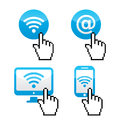 Wifi sumbol with cursor hand icons blue internet piexelated isolated on white Royalty Free Stock Image