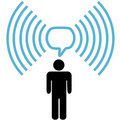 Wifi symbol man talks on wireless network Stock Images