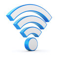 Wifi symbol over white background d illustration Royalty Free Stock Photos
