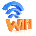 Wifi symbol on white d rendered image Royalty Free Stock Photography