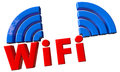 Wifi text in d with signal and clipping path Royalty Free Stock Images