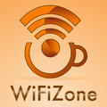 Wifi zone with small caps coffee on a orange background Royalty Free Stock Images