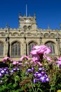Wigan parish church with floral display in foreground and blue sky behind Royalty Free Stock Photography