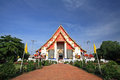 Wiharn phra mongkhon bopit temple in ayutthaya travelers at thailand Stock Image