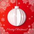 Wihite origami paper vector christmas ball on red background Royalty Free Stock Photography