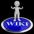 Wiki button shows online information or encyclopedia for Royalty Free Stock Images