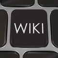 Wiki computer key website button edit information the word on a keyboard to illustrate a or internet page where users can or write Royalty Free Stock Image