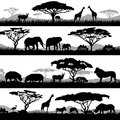 Wild african life. Background silhouettes of different animals and trees