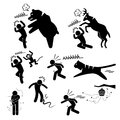 Wild animal attacking human pictogram icon a set of representing animals bear deer monkey tiger snake mosquito and bees Stock Photography