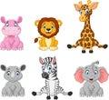Wild animal cartoon collection set Royalty Free Stock Photo