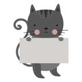 Wild animal cat strike with clean plate board vector.