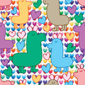 Wild animal cute love vertical seamless pattern