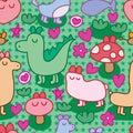 Wild animal cute zen seamless pattern Royalty Free Stock Photo