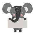 Wild animal elephant strike with clean plate board vector.