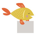 Wild animal fish strike with clean plate board vector.