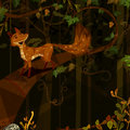 Wild animal Fox in jungle forest background