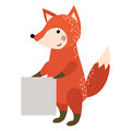 Wild animal fox strike with clean plate board vector.