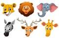 Wild Animal Heads With Happy S...