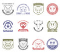 Wild Animal Stamps Set Royalty Free Stock Photo