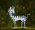 Wild animal Zebra in jungle forest background