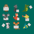 Wild animal zoo strike with clean plate board vector.