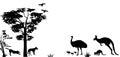 Wild animals of Australia kangaroo,emu and dingos Royalty Free Stock Photo