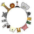 Wild animals circle with copy space Royalty Free Stock Photo