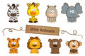 Wild animals cute set of eight eps Royalty Free Stock Image