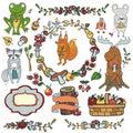 Wild animals ,decor elements.Woodland autumn Royalty Free Stock Photo