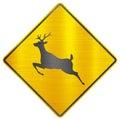 Wild animals deer safety sign