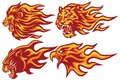 Wild Animals Flaming Flame Heads Set. Lion, Tiger, Jaguar, Panther Eagle - Vector Mascot Logo Design