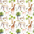 Wild animals - giraffe, elephant, cheetah, antelope. Savannah with palm trees. Repeating background. Watercolor