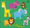 Wild animals kit vector graphic image with funny Stock Photos