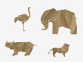 Wild animals origami Royalty Free Stock Photos