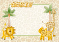Wild animals party invitation card Stock Image
