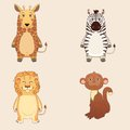 Wild animals set giraffe zebra lion monkey Stock Photos