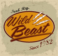 Wild beast lettering vintage card t shirt print design Stock Photos