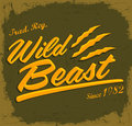 Wild beast lettering vintage t shirt design eps available Stock Photo