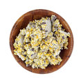 Wild bird food chuncks dish top looking down at a bowl of chunks Royalty Free Stock Images